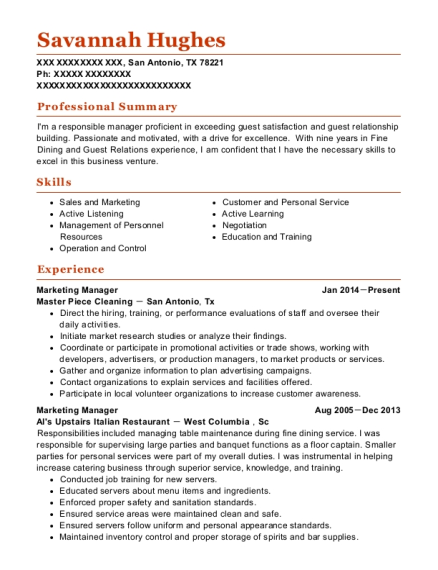Marketing Manager resume example Texas