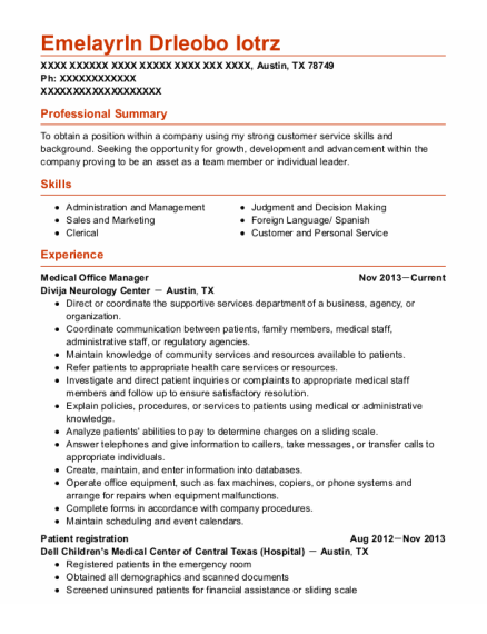 Medical Office Manager resume example Texas