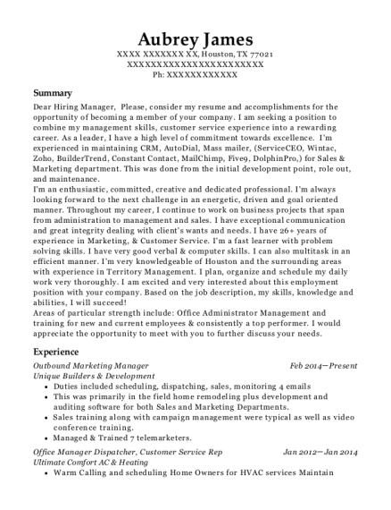 Outbound Marketing Manager resume sample Texas