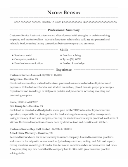 Customer Service Assistant resume sample Texas