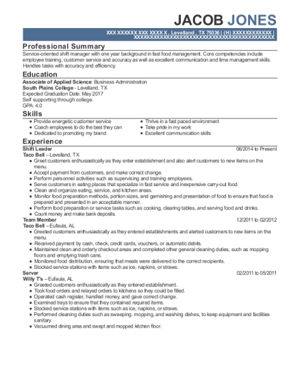 Shift Leader resume example Texas