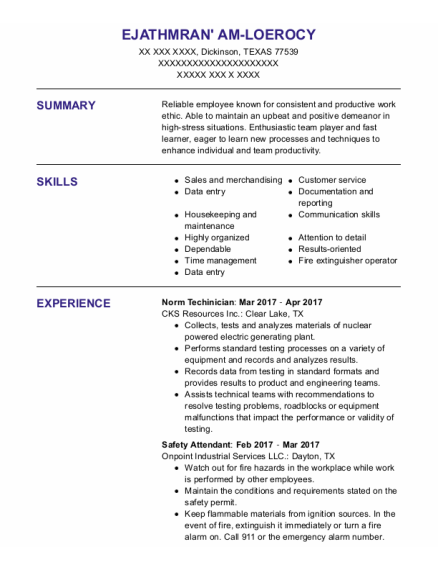 Safety Attendant resume example TEXAS