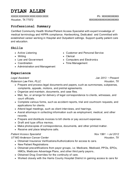 Legal Assistant resume example Texas
