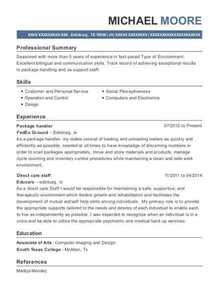 Package handler resume sample Texas