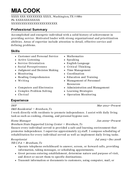 DSP resume example Texas