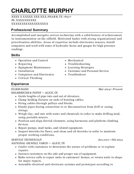 FLOOR HAND resume sample Texas