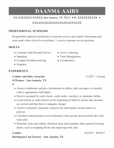 Cashier And Sales Associate resume example Texas
