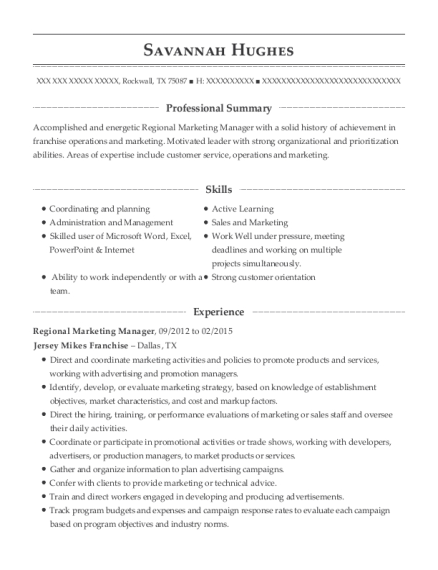 Regional Marketing Manager resume template Texas