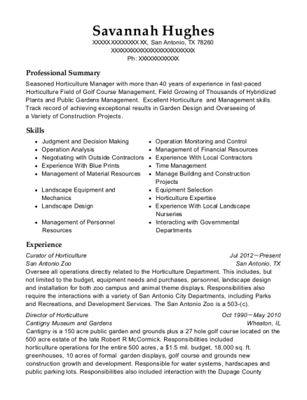 Curator of Horticulture resume template Texas