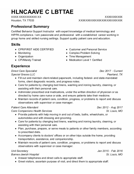 Direct Care Specialist resume template Texas