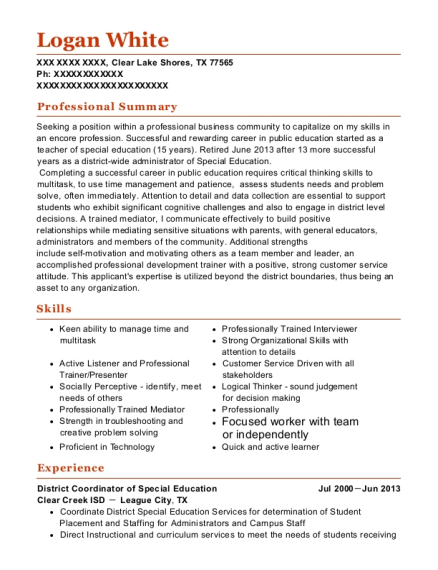 District Coordinator of Special Education resume format Texas