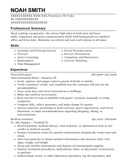 Front desk agent resume format Texas