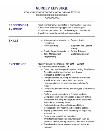 Quality Control Technician resume example Texas