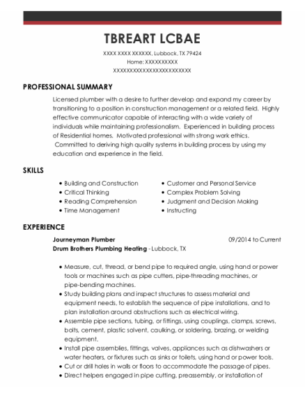 Journeyman Plumber resume sample Texas