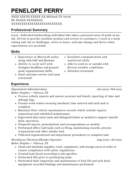 Department Administration resume format Texas