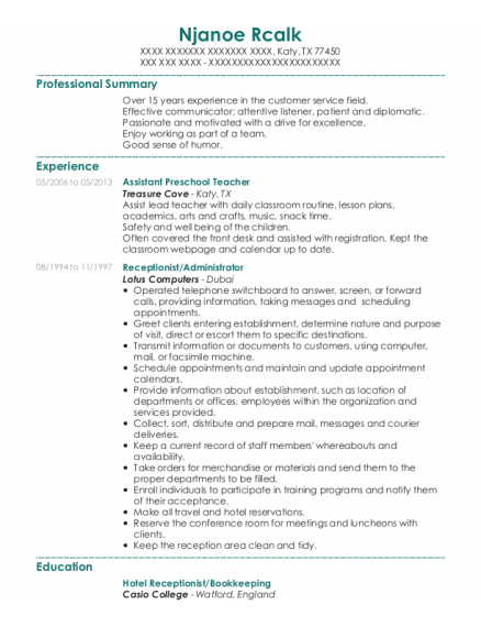 Assistant Preschool Teacher resume format Texas