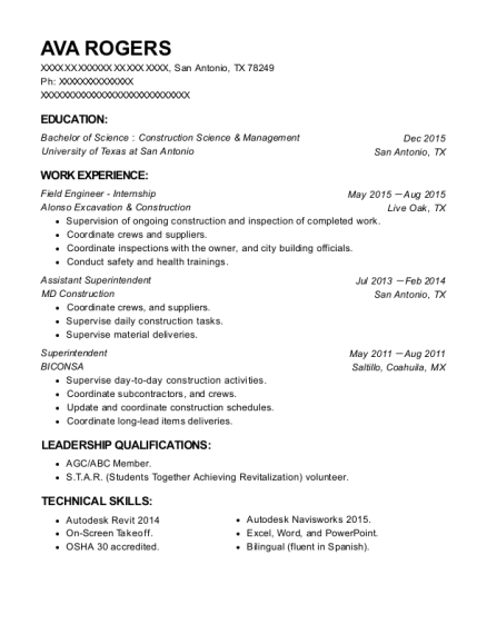 Field Engineer Internship resume format Texas