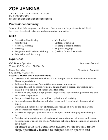 Quality Energy Services Tool Supervisor Resume Sample