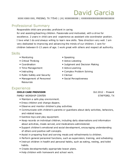 CHILD CARE PROVIDER resume template Texas