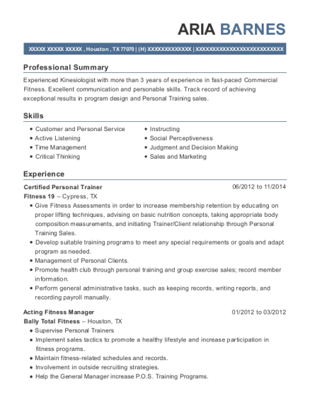 Certified Personal Trainer resume format Texas