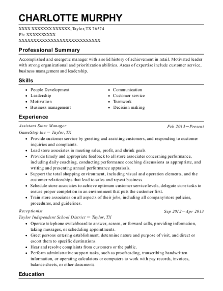 Assistant Store Manager resume sample Texas