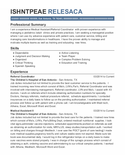 Referral Coordinator resume template Texas