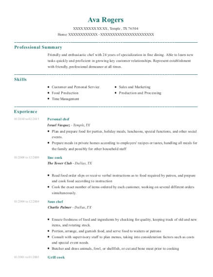 Personal chef resume sample Texas