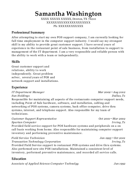 IT Department Manager resume format Texas