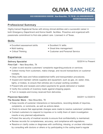 Delivery Specialist resume sample Texas
