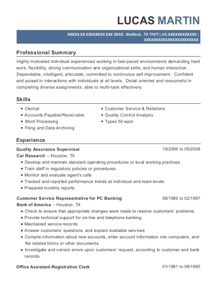 Quality Assurance Supervisor resume example Texas