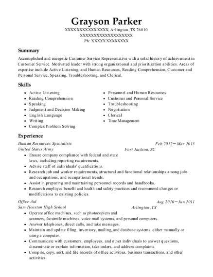 Human Resources Specialists resume template Texas