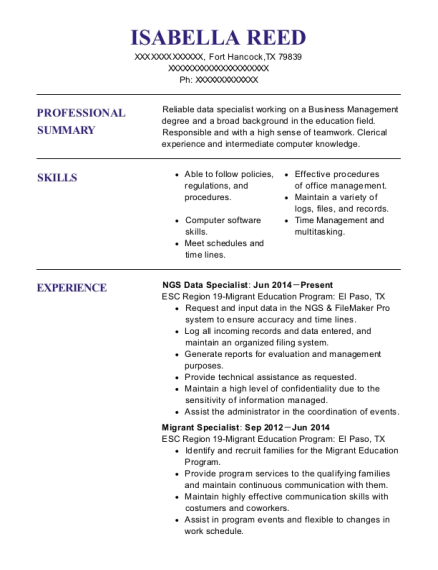 NGS Data Specialist resume example Texas