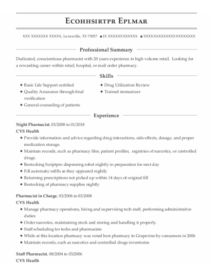 Pharmacist In Charge resume format Texas
