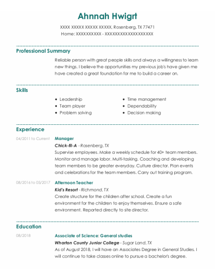 Manager resume format Texas