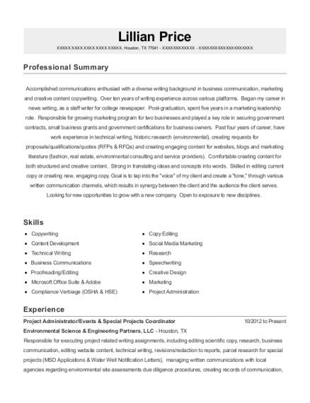 Project Administrator resume template Texas