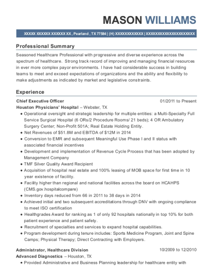 Chief Executive Officer resume format Texas