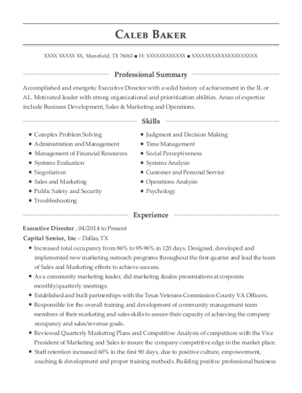 Executive Director resume sample Texas