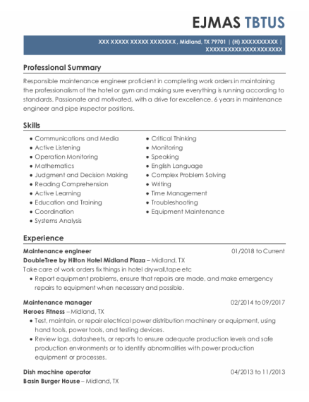 Maintenance Engineer resume template Texas