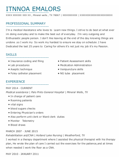 Medical Assistance resume example Texas