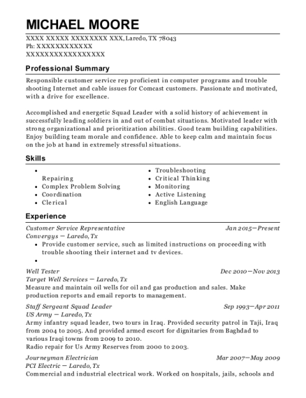 Customer Service Representative resume format Texas