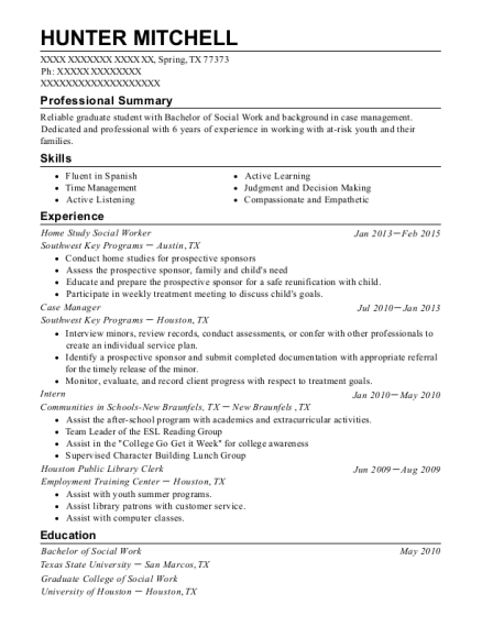 Home Study Social Worker resume template Texas
