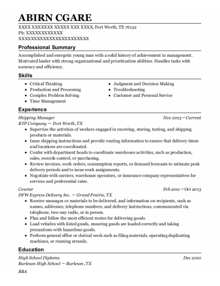 Shipping Manager resume format Texas