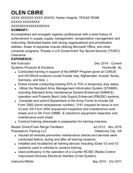 Instructor resume template TEXAS