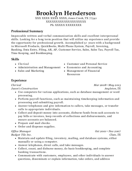 Clerical resume example Texas