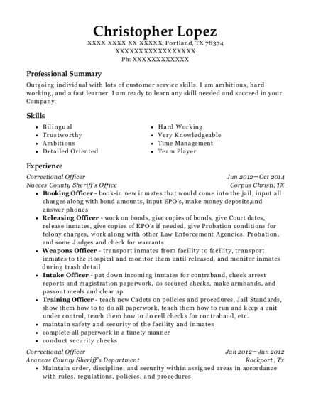 Correctional Officer resume template Texas