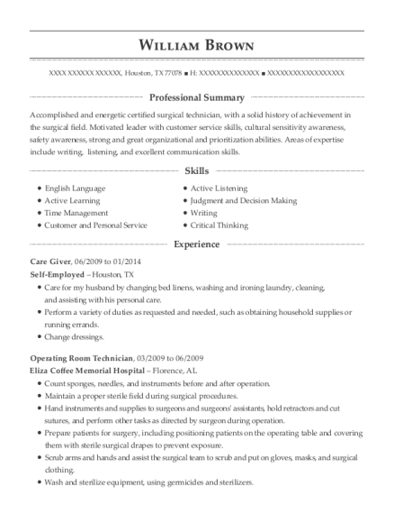 Care Giver resume example Texas