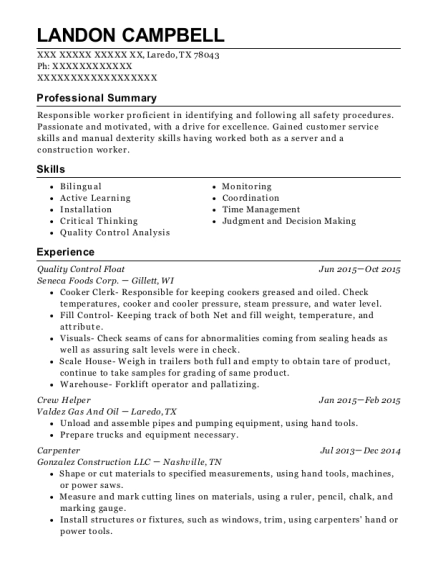 Quality Control Float resume sample Texas