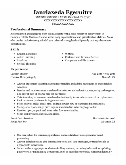 Front Desk Assistant resume example Texas