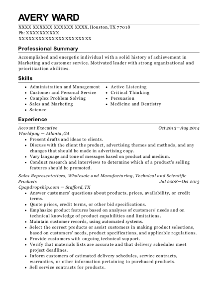 Account Executive resume sample Texas