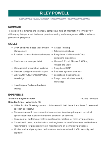 Technical Engineer VOIP resume example Texas